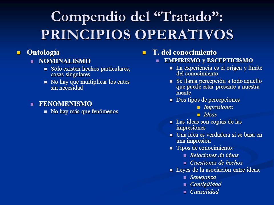 Compendio del Tratado: PRINCIPIOS OPERATIVOS Ontología Ontología NOMINALISMO NOMINALISMO Sólo existen hechos particulares, cosas singulares Sólo exist