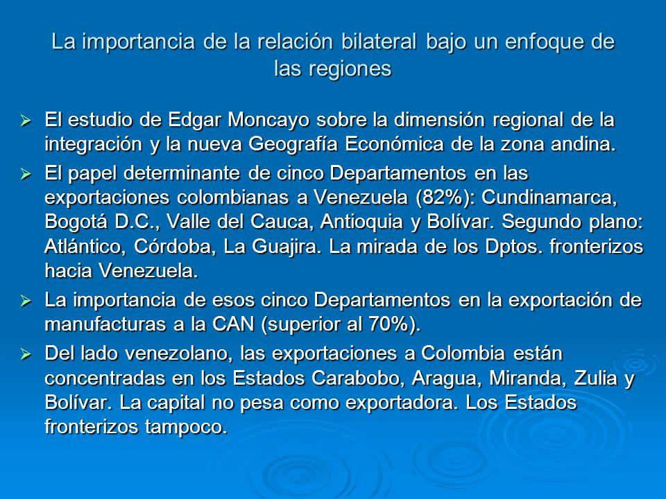 La importancia de la relación bilateral bajo un enfoque de las regiones El estudio de Edgar Moncayo sobre la dimensión regional de la integración y la nueva Geografía Económica de la zona andina.