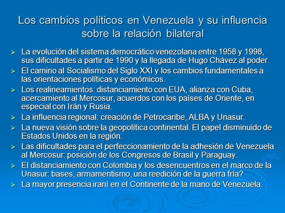 Los cambios políticos en Venezuela y su influencia sobre la relación bilateral La evolución del sistema democrático venezolana entre 1958 y 1998, sus dificultades a partir de 1990 y la llegada de Hugo Chávez al poder.
