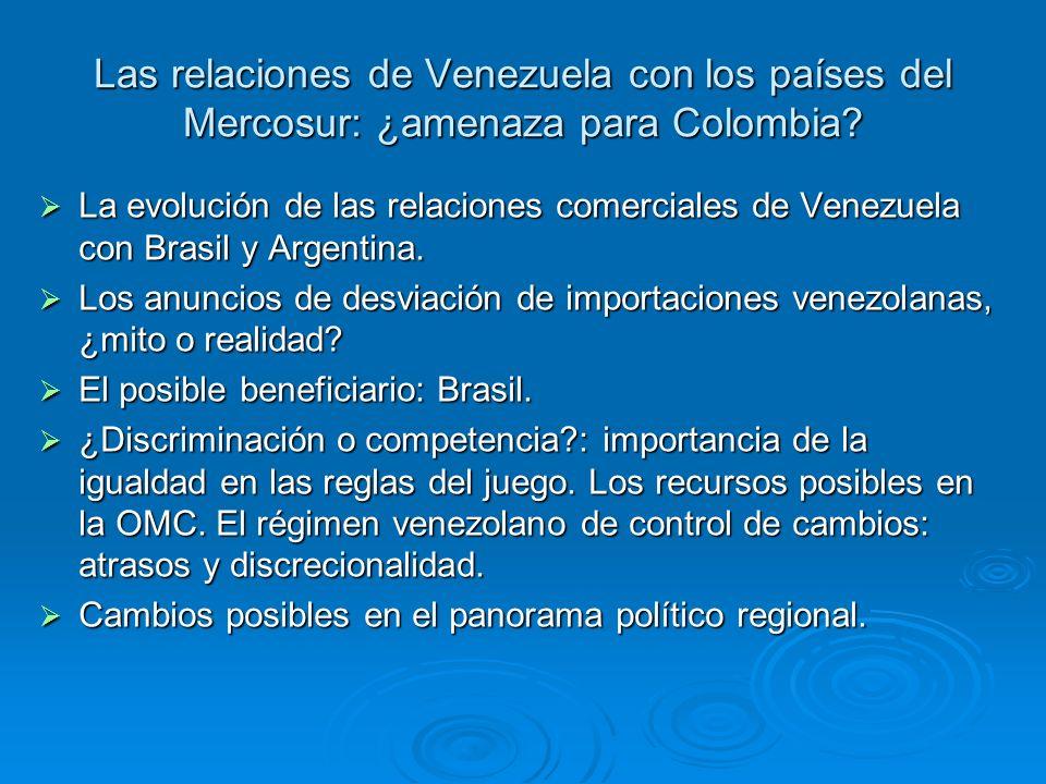 Las relaciones de Venezuela con los países del Mercosur: ¿amenaza para Colombia? La evolución de las relaciones comerciales de Venezuela con Brasil y