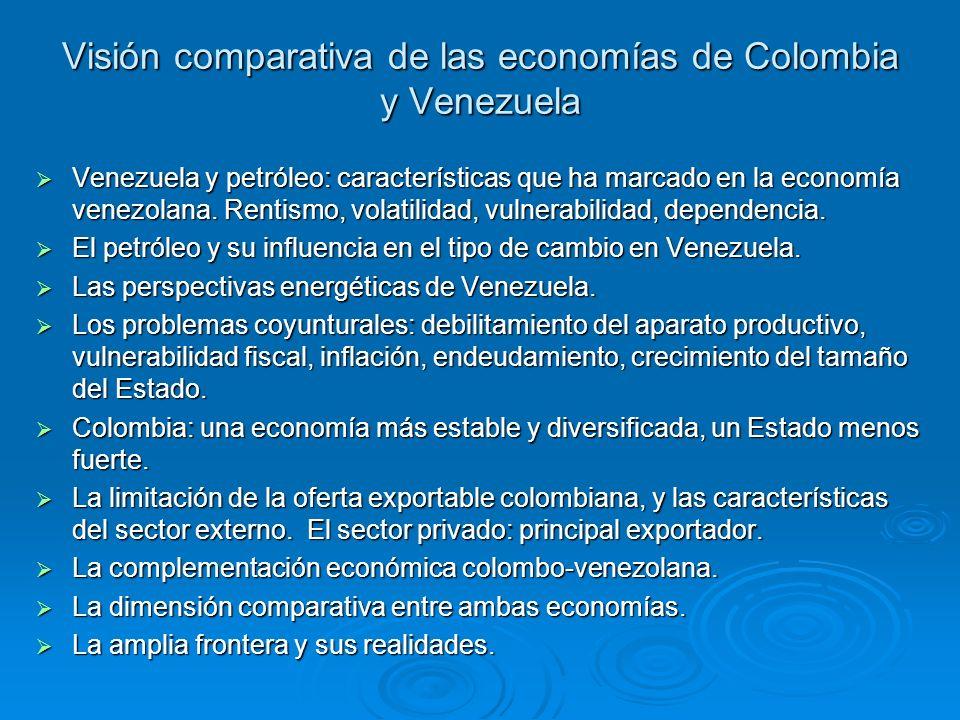 Visión comparativa de las economías de Colombia y Venezuela Venezuela y petróleo: características que ha marcado en la economía venezolana. Rentismo,