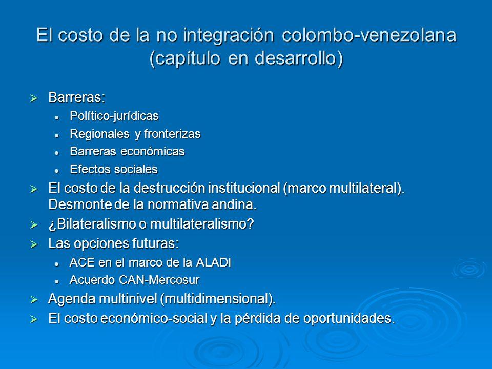 El costo de la no integración colombo-venezolana (capítulo en desarrollo) Barreras: Barreras: Político-jurídicas Político-jurídicas Regionales y front