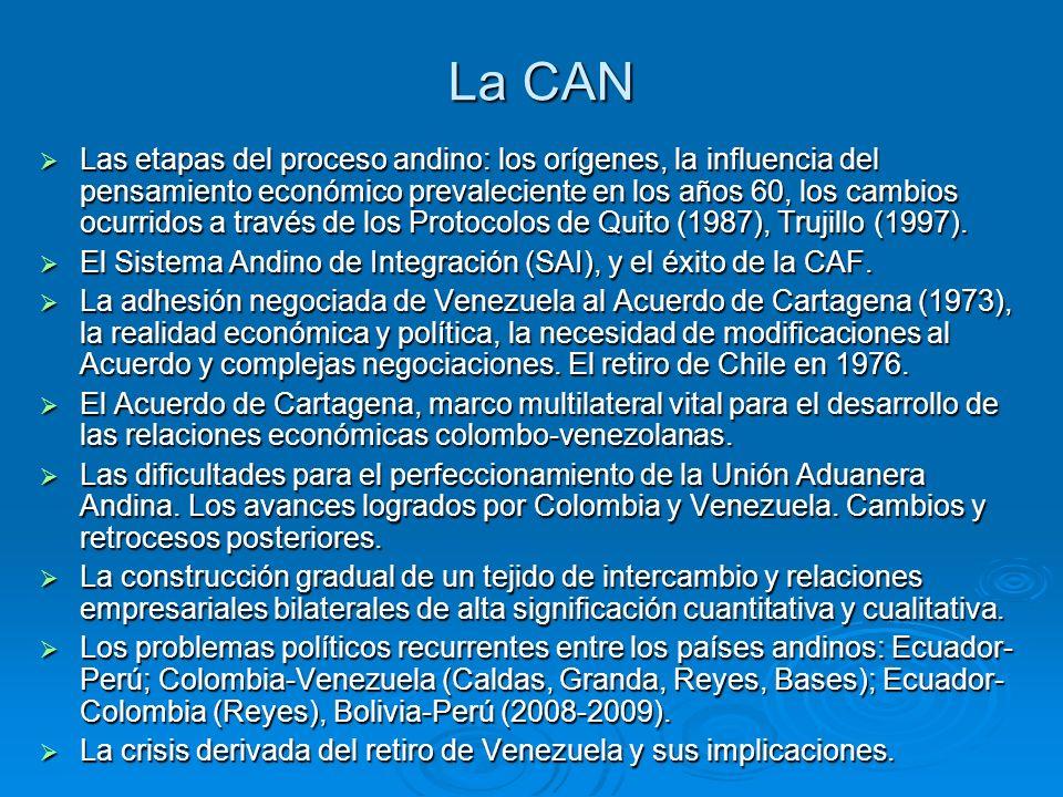 La CAN Las etapas del proceso andino: los orígenes, la influencia del pensamiento económico prevaleciente en los años 60, los cambios ocurridos a través de los Protocolos de Quito (1987), Trujillo (1997).
