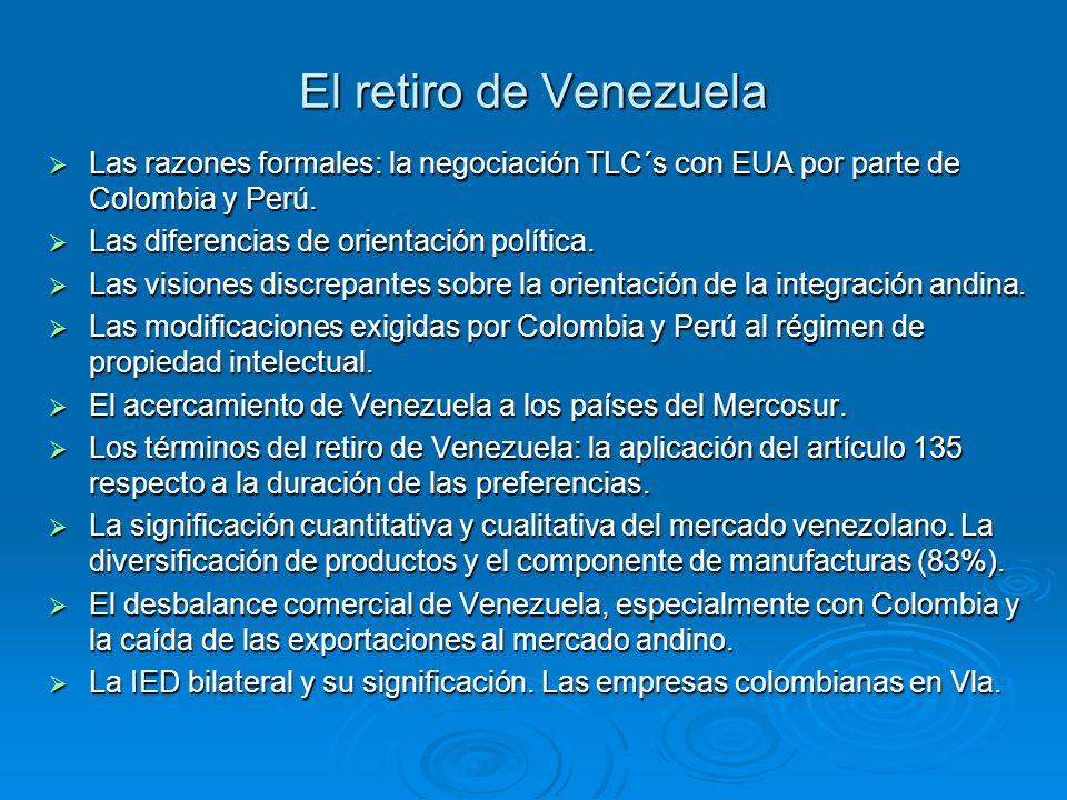 El retiro de Venezuela Las razones formales: la negociación TLC´s con EUA por parte de Colombia y Perú. Las razones formales: la negociación TLC´s con