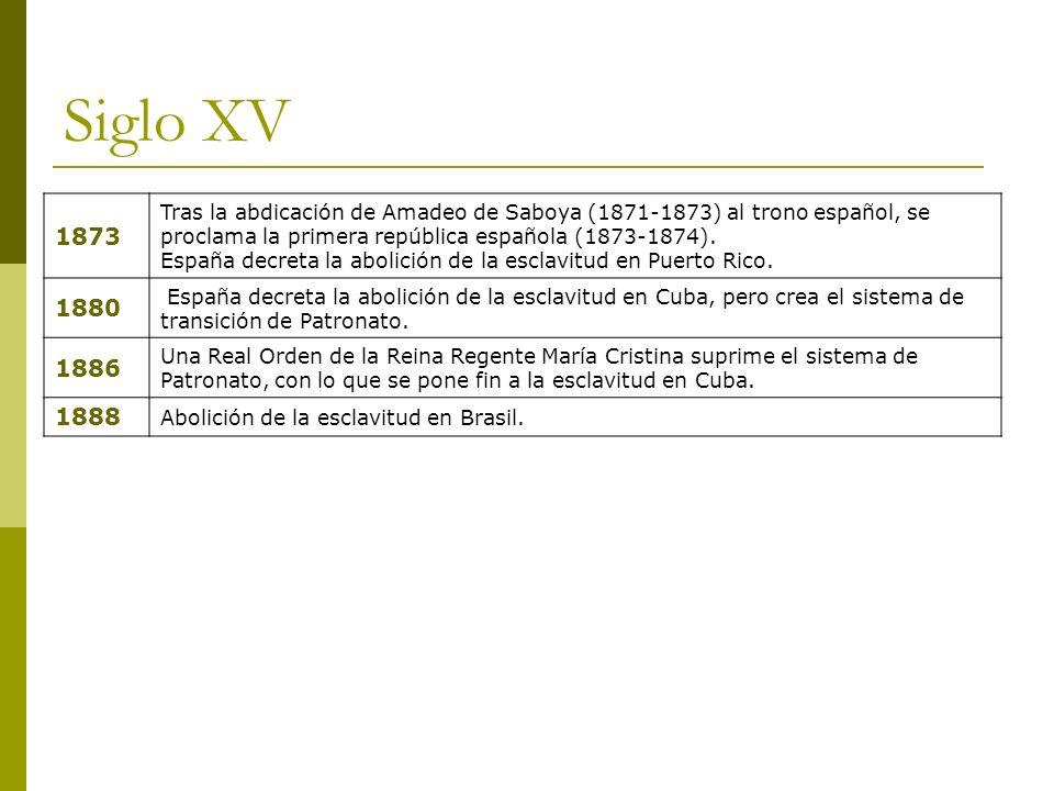 Siglo XV 1873 Tras la abdicación de Amadeo de Saboya (1871-1873) al trono español, se proclama la primera república española (1873-1874). España decre
