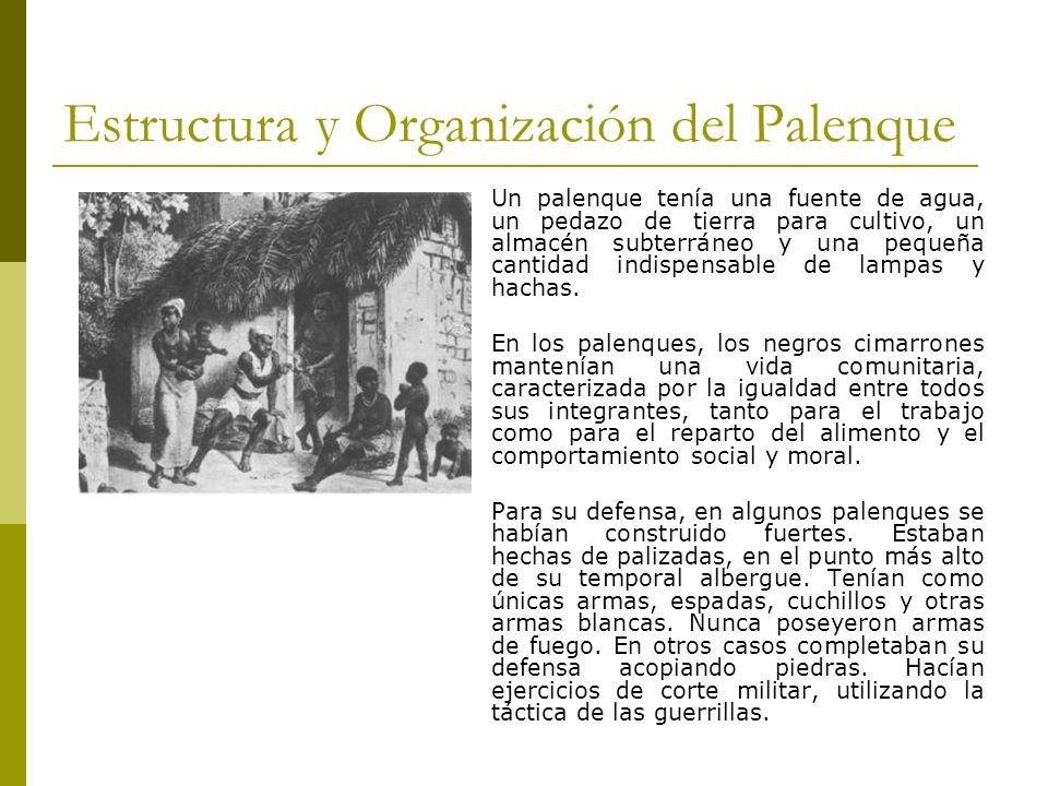 Estructura y Organización del Palenque Un palenque tenía una fuente de agua, un pedazo de tierra para cultivo, un almacén subterráneo y una pequeña ca