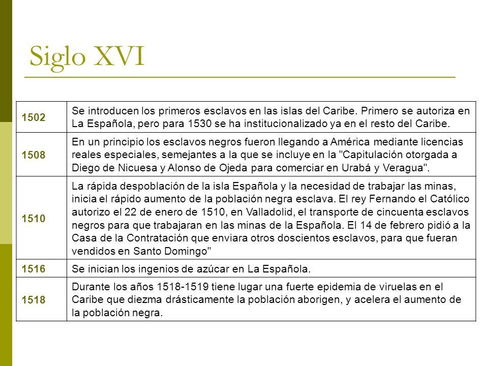 Siglo XVI 1502 Se introducen los primeros esclavos en las islas del Caribe. Primero se autoriza en La Española, pero para 1530 se ha institucionalizad