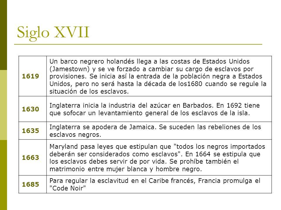 Siglo XVIII 1713 Acuerdo entre España e Inglaterra sobre Encargarse la Compañía de Inglaterra de la introducción de esclavos Negros en la América Española, por tiempo de treinta años. 1734 Las rebeliones en Jamaica llegaron a tal extremo que la Asamblea de Jamaica se vio en la necesidad de enviar una petición de ayuda a la metrópoli.
