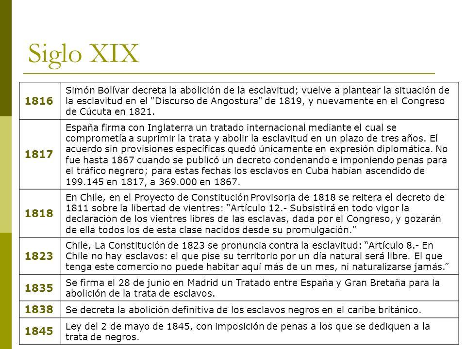 Siglo XIX 1816 Simón Bolívar decreta la abolición de la esclavitud; vuelve a plantear la situación de la esclavitud en el