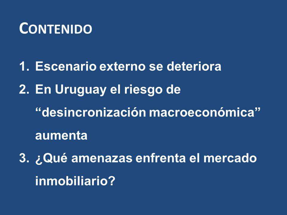 C ONTENIDO 1.Escenario externo se deteriora 2.En Uruguay el riesgo de desincronización macroeconómica aumenta 3.¿Qué amenazas enfrenta el mercado inmobiliario?