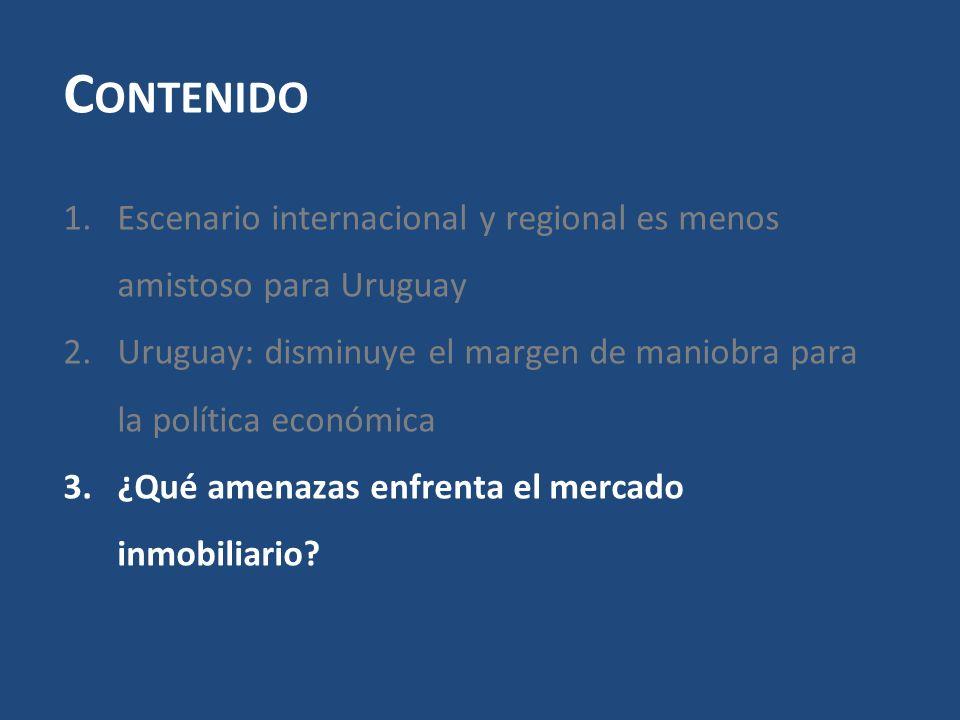C ONTENIDO 1.Escenario internacional y regional es menos amistoso para Uruguay 2.Uruguay: disminuye el margen de maniobra para la política económica 3