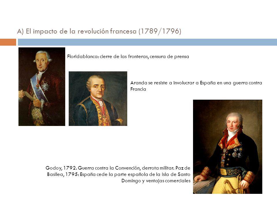A) El impacto de la revolución francesa (1789/1796) Floridablanca: cierre de las fronteras, censura de prensa Aranda se resiste a involucrar a España