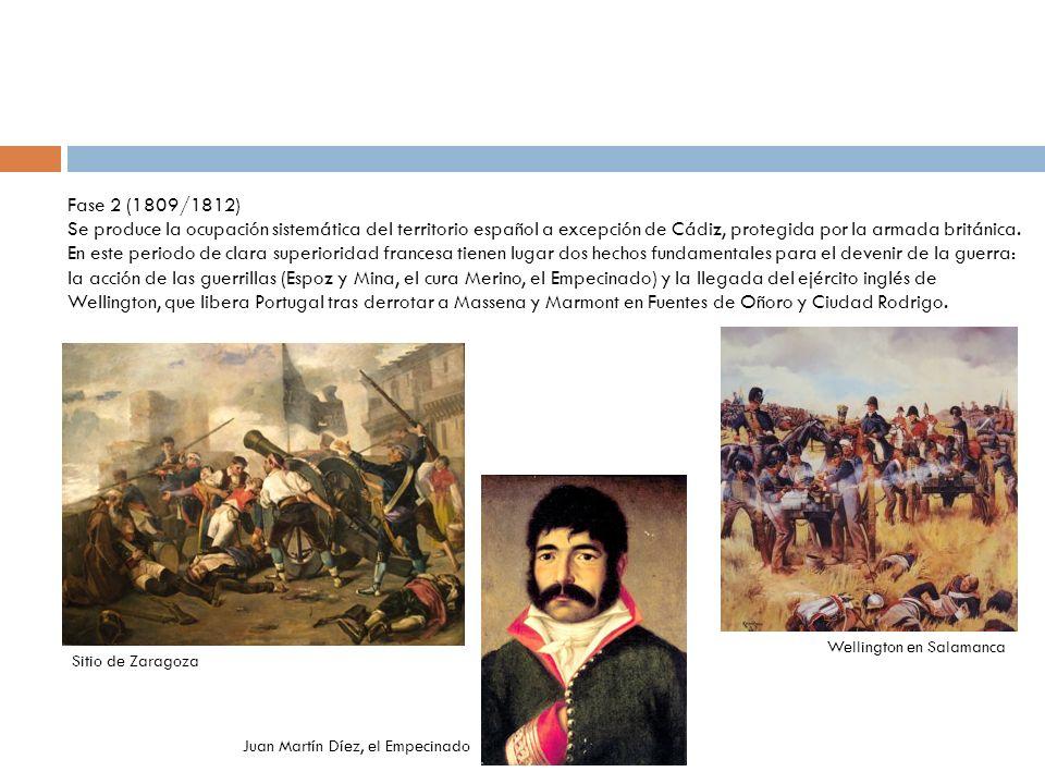 Fase 3 (1812/1814) En la primavera de 1812 Napoleón retira de territorio español parte de las tropas que irán a engrosar la Grand Armée que prepara contra Rusia.