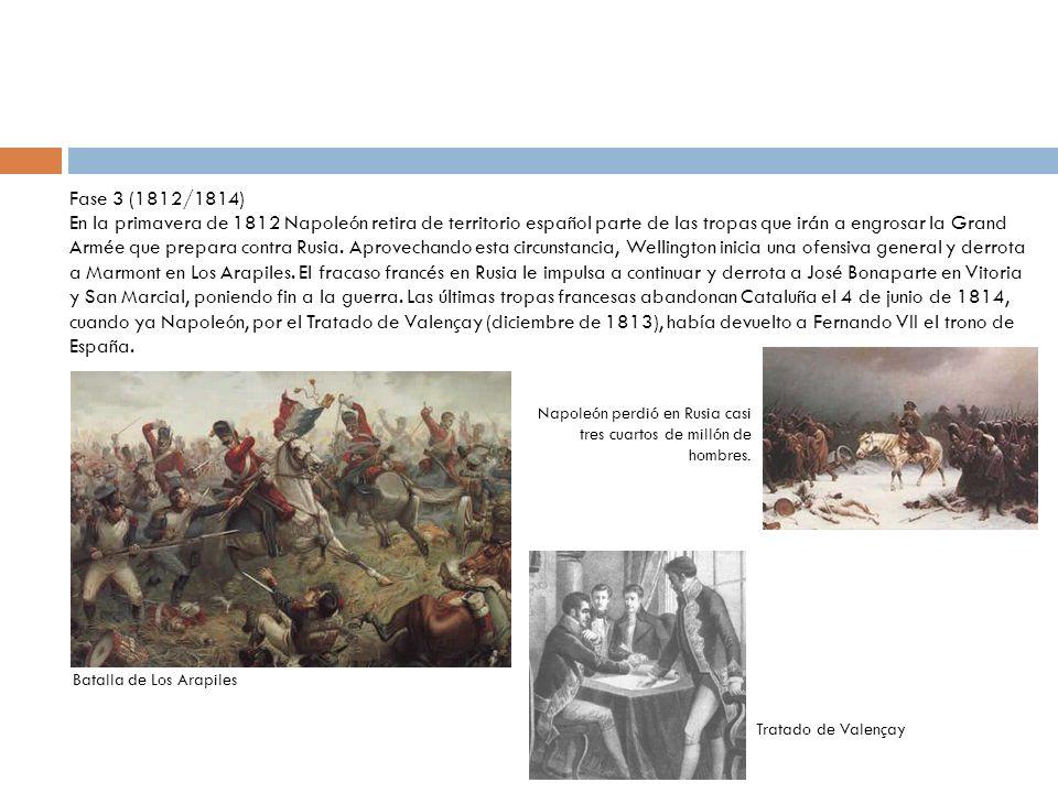 Fase 3 (1812/1814) En la primavera de 1812 Napoleón retira de territorio español parte de las tropas que irán a engrosar la Grand Armée que prepara co