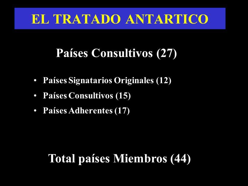 Países Signatarios Originales (12) Países Consultivos (15) Países Adherentes (17) Total países Miembros (44) Países Consultivos (27) EL TRATADO ANTART