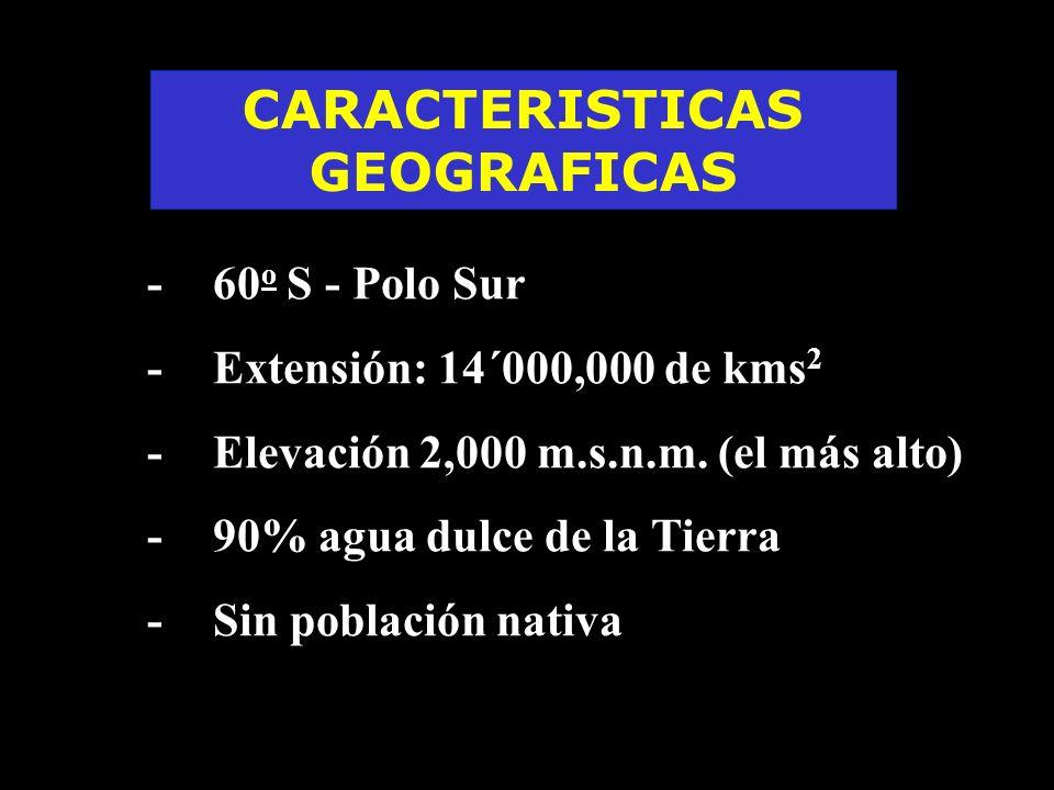 F -60 o S - Polo Sur F -Extensión: 14´000,000 de kms 2 F -Elevación 2,000 m.s.n.m. (el más alto) F -90% agua dulce de la Tierra F -Sin población nativ