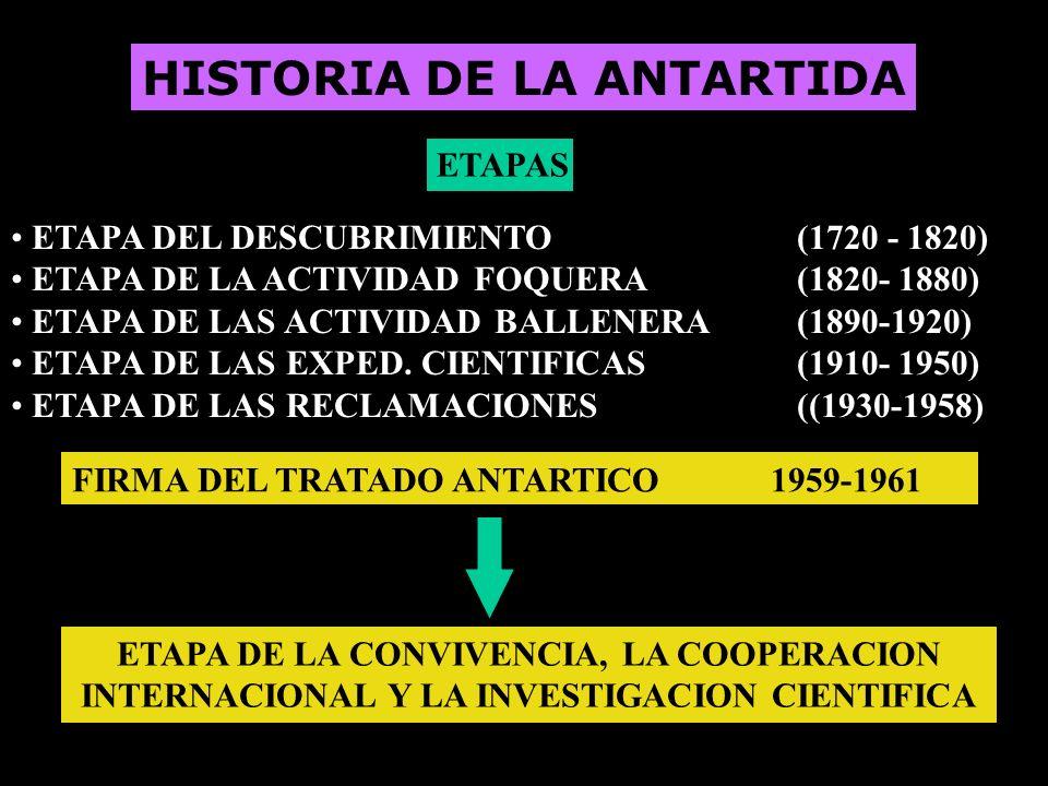 HISTORIA DE LA ANTARTIDA ETAPAS ETAPA DEL DESCUBRIMIENTO (1720 - 1820) ETAPA DE LA ACTIVIDAD FOQUERA(1820- 1880) ETAPA DE LAS ACTIVIDAD BALLENERA(1890