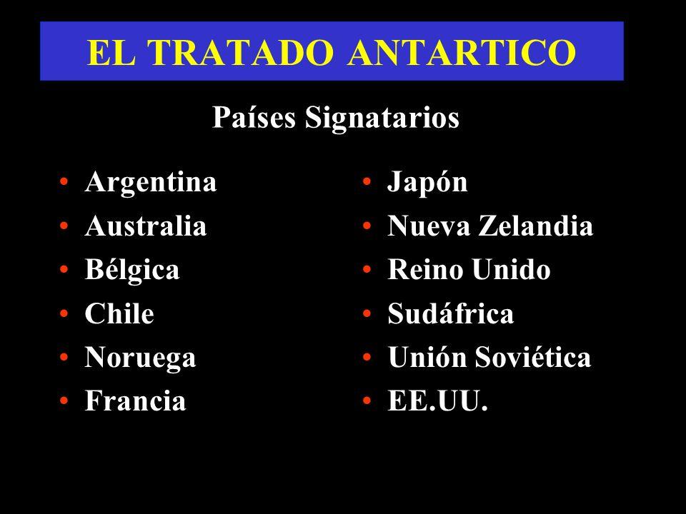 EL TRATADO ANTARTICO Argentina Australia Bélgica Chile Noruega Francia Japón Nueva Zelandia Reino Unido Sudáfrica Unión Soviética EE.UU. Países Signat