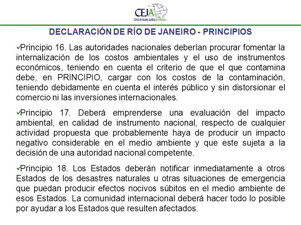 DECLARACIÓN DE RÍO DE JANEIRO - PRINCIPIOS Principio 16. Las autoridades nacionales deberían procurar fomentar la internalización de los costos ambien