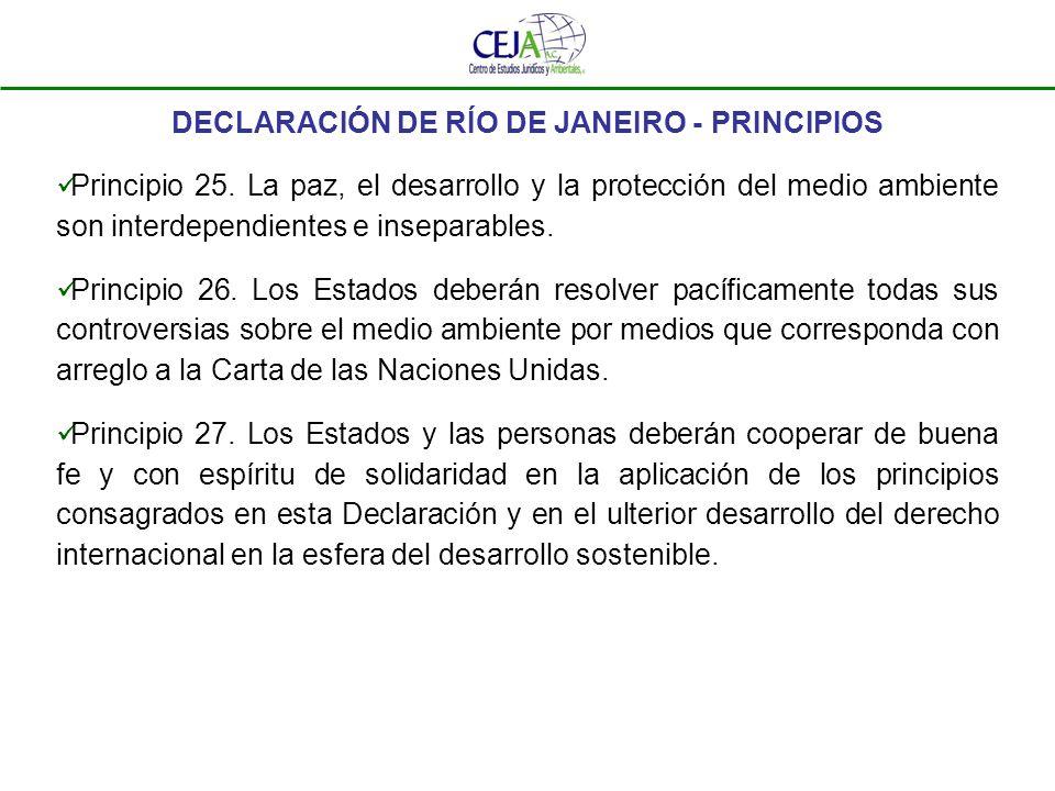 DECLARACIÓN DE RÍO DE JANEIRO - PRINCIPIOS Principio 25. La paz, el desarrollo y la protección del medio ambiente son interdependientes e inseparables