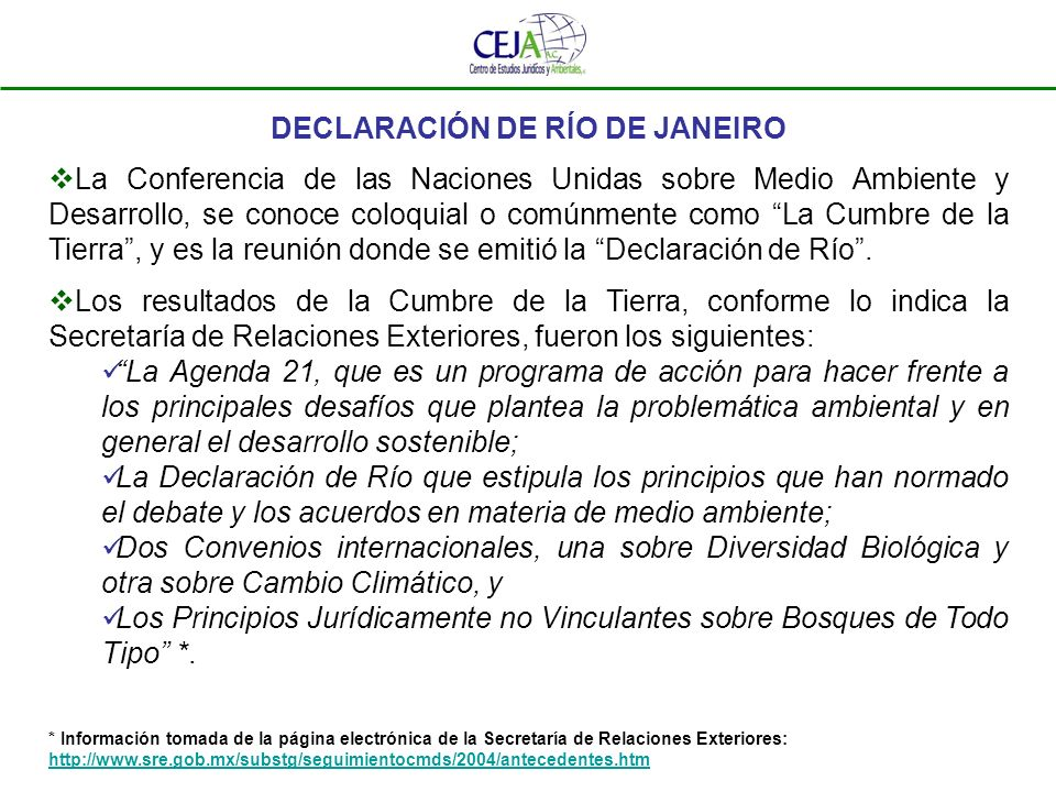 DECLARACIÓN DE RÍO DE JANEIRO Consta de 27 principios.