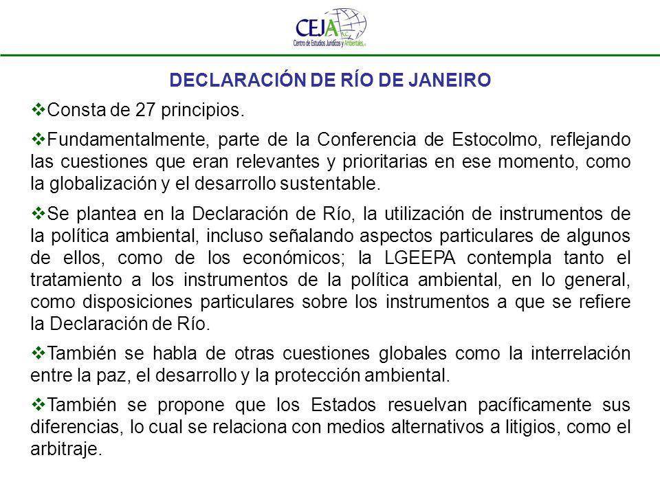 DECLARACIÓN DE RÍO DE JANEIRO - PRINCIPIOS Principio 1.