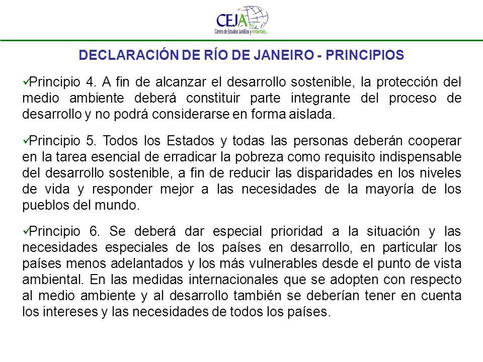 DECLARACIÓN DE RÍO DE JANEIRO - PRINCIPIOS Principio 4. A fin de alcanzar el desarrollo sostenible, la protección del medio ambiente deberá constituir