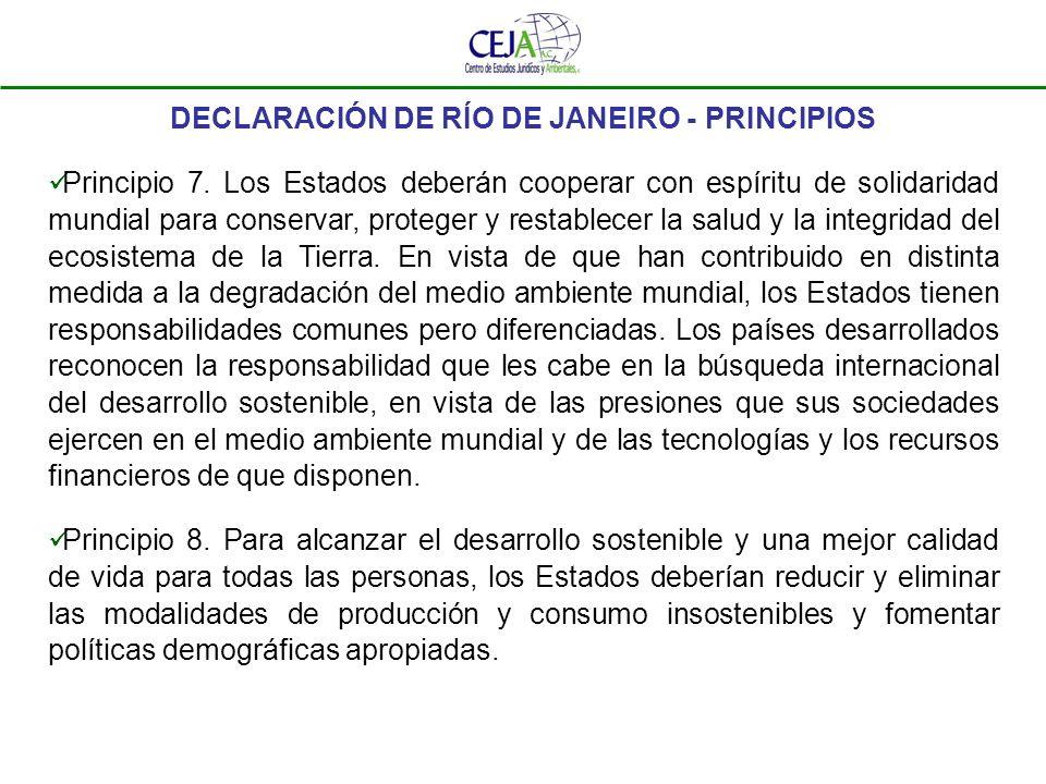 DECLARACIÓN DE RÍO DE JANEIRO - PRINCIPIOS Principio 9.