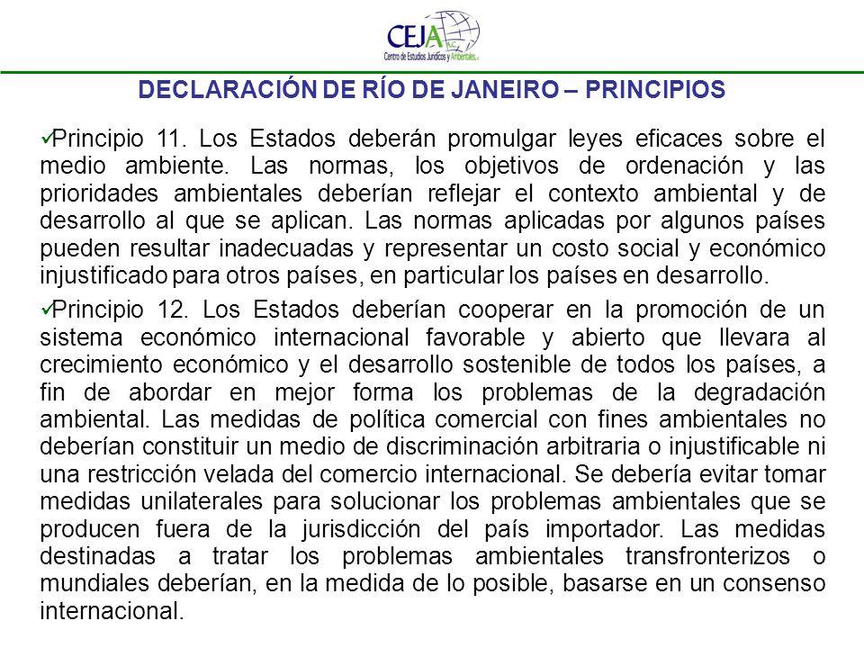 DECLARACIÓN DE RÍO DE JANEIRO – PRINCIPIOS Principio 11. Los Estados deberán promulgar leyes eficaces sobre el medio ambiente. Las normas, los objetiv