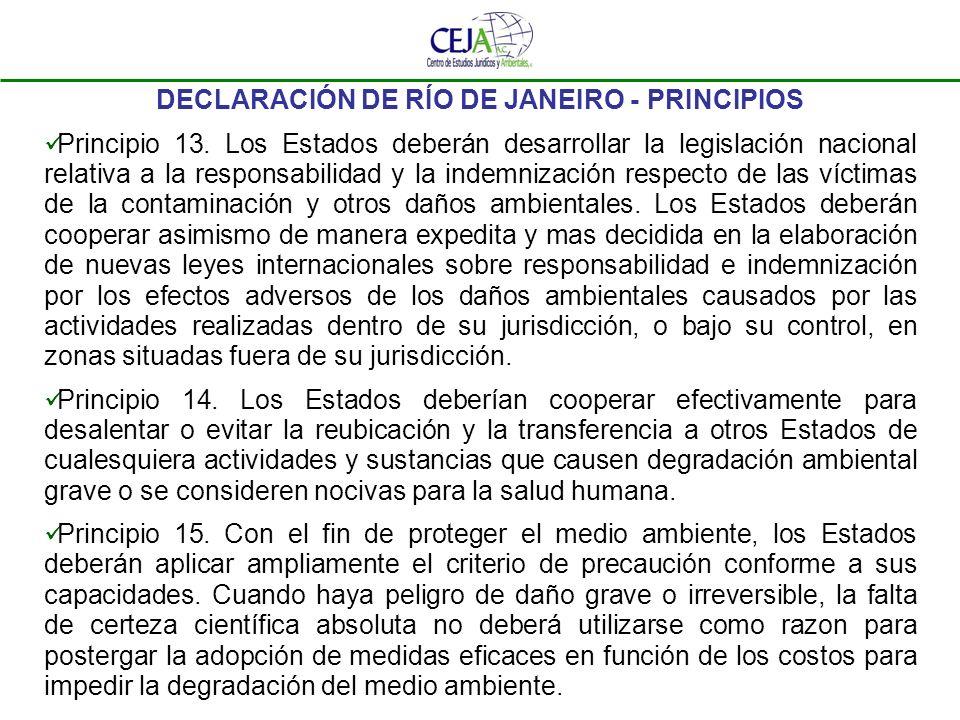 DECLARACIÓN DE RÍO DE JANEIRO - PRINCIPIOS Principio 13. Los Estados deberán desarrollar la legislación nacional relativa a la responsabilidad y la in