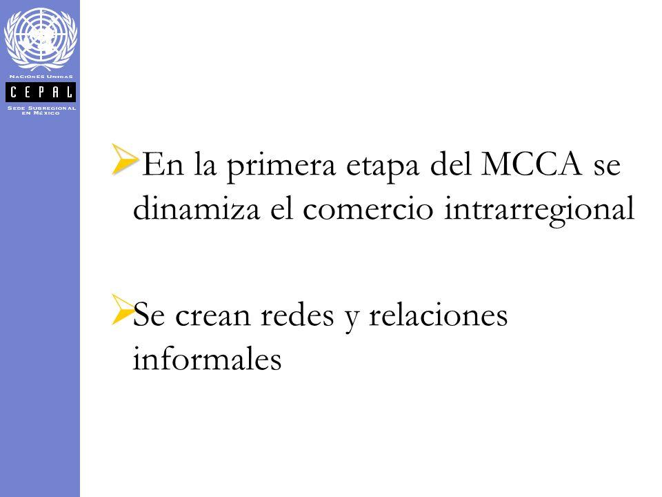 En la primera etapa del MCCA se dinamiza el comercio intrarregional Se crean redes y relaciones informales