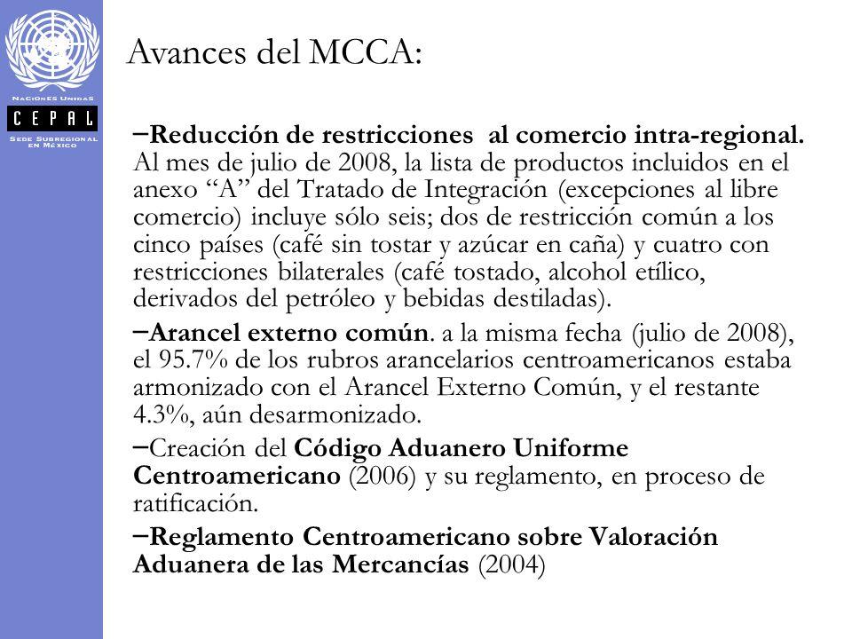 – – Reducción de restricciones al comercio intra-regional. Al mes de julio de 2008, la lista de productos incluidos en el anexo A del Tratado de Integ