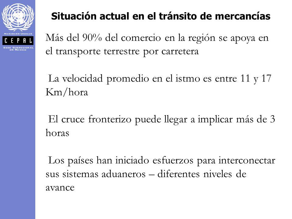 Situación actual en el tránsito de mercancías Más del 90% del comercio en la región se apoya en el transporte terrestre por carretera La velocidad pro