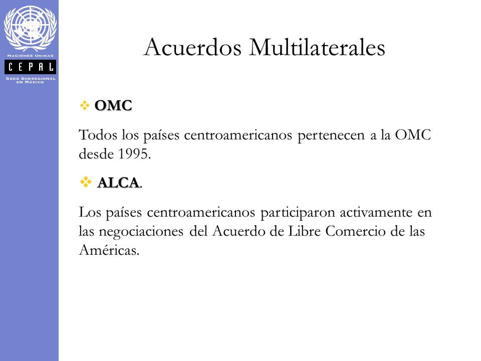Acuerdos Multilaterales OMC Todos los países centroamericanos pertenecen a la OMC desde 1995. ALCA ALCA. Los países centroamericanos participaron acti