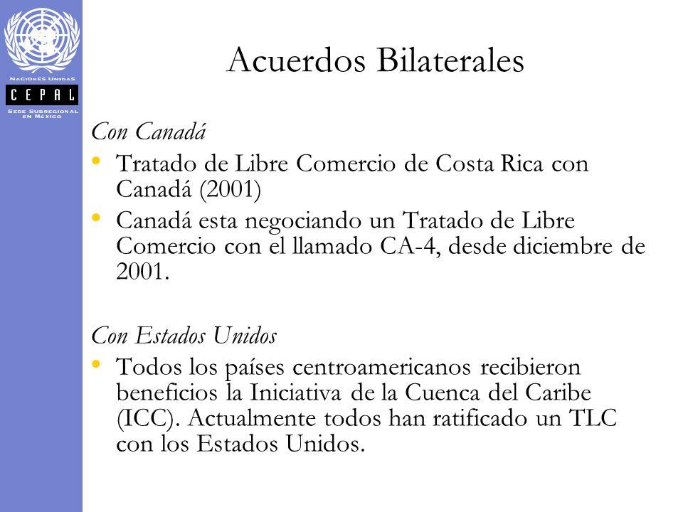Con Canadá Tratado de Libre Comercio de Costa Rica con Canadá (2001) Canadá esta negociando un Tratado de Libre Comercio con el llamado CA-4, desde di