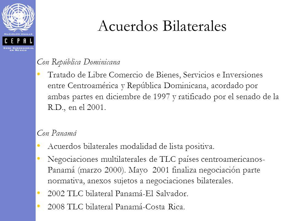 Con República Dominicana Tratado de Libre Comercio de Bienes, Servicios e Inversiones entre Centroamérica y República Dominicana, acordado por ambas p