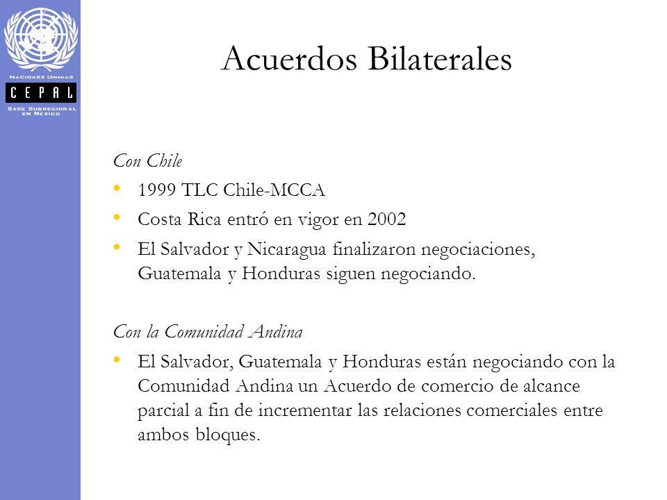 Con Chile 1999 TLC Chile-MCCA Costa Rica entró en vigor en 2002 El Salvador y Nicaragua finalizaron negociaciones, Guatemala y Honduras siguen negocia