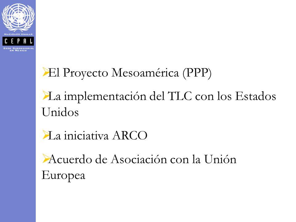 El Proyecto Mesoamérica (PPP) La implementación del TLC con los Estados Unidos La iniciativa ARCO Acuerdo de Asociación con la Unión Europea