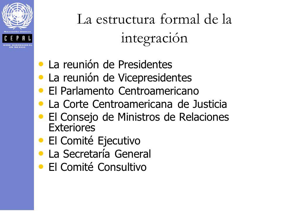 La estructura formal de la integración La reunión de Presidentes La reunión de Vicepresidentes El Parlamento Centroamericano La Corte Centroamericana