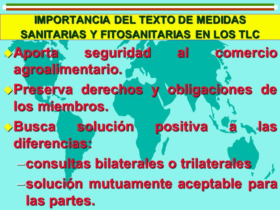 IMPORTANCIA DEL TEXTO DE MEDIDAS SANITARIAS Y FITOSANITARIAS EN LOS TLC u Aporta seguridad al comercio agroalimentario. u Preserva derechos y obligaci