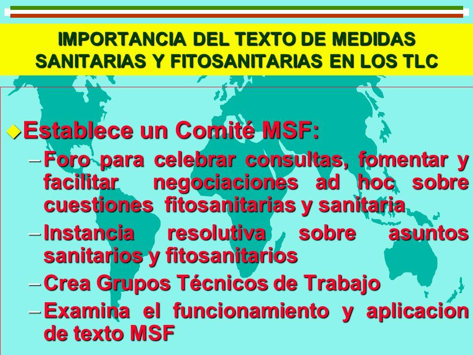 IMPORTANCIA DEL TEXTO DE MEDIDAS SANITARIAS Y FITOSANITARIAS EN LOS TLC u Establece un Comité MSF: –Foro para celebrar consultas, fomentar y facilitar