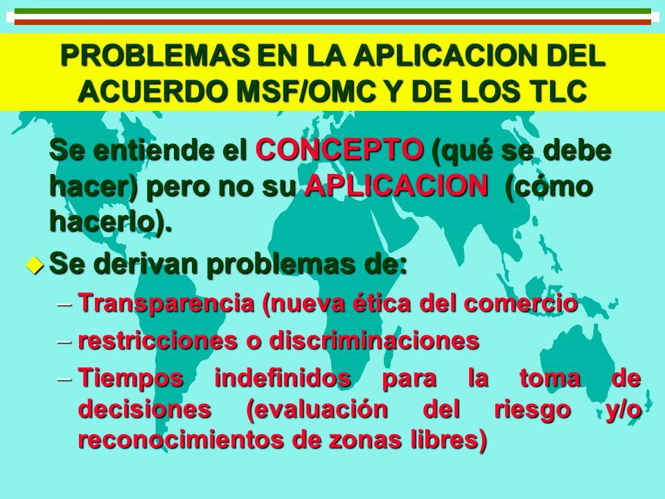 PROBLEMAS EN LA APLICACION DEL ACUERDO MSF/OMC Y DE LOS TLC Se entiende el CONCEPTO (qué se debe hacer) pero no su APLICACION (cómo hacerlo). u Se der