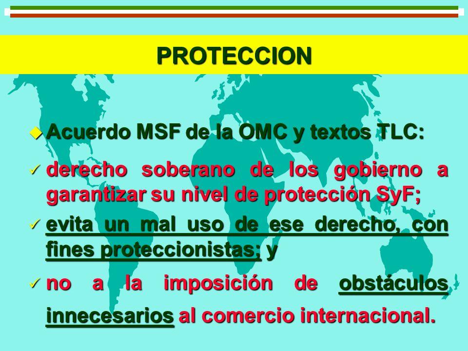 PROTECCION u Acuerdo MSF de la OMC y textos TLC: derecho soberano de los gobierno a garantizar su nivel de protección SyF; derecho soberano de los gob