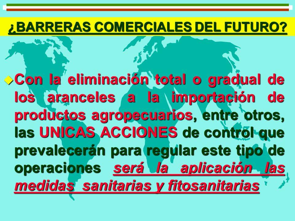 u Con la eliminación total o gradual de los aranceles a la importación de productos agropecuarios, entre otros, las UNICAS ACCIONES de control que pre