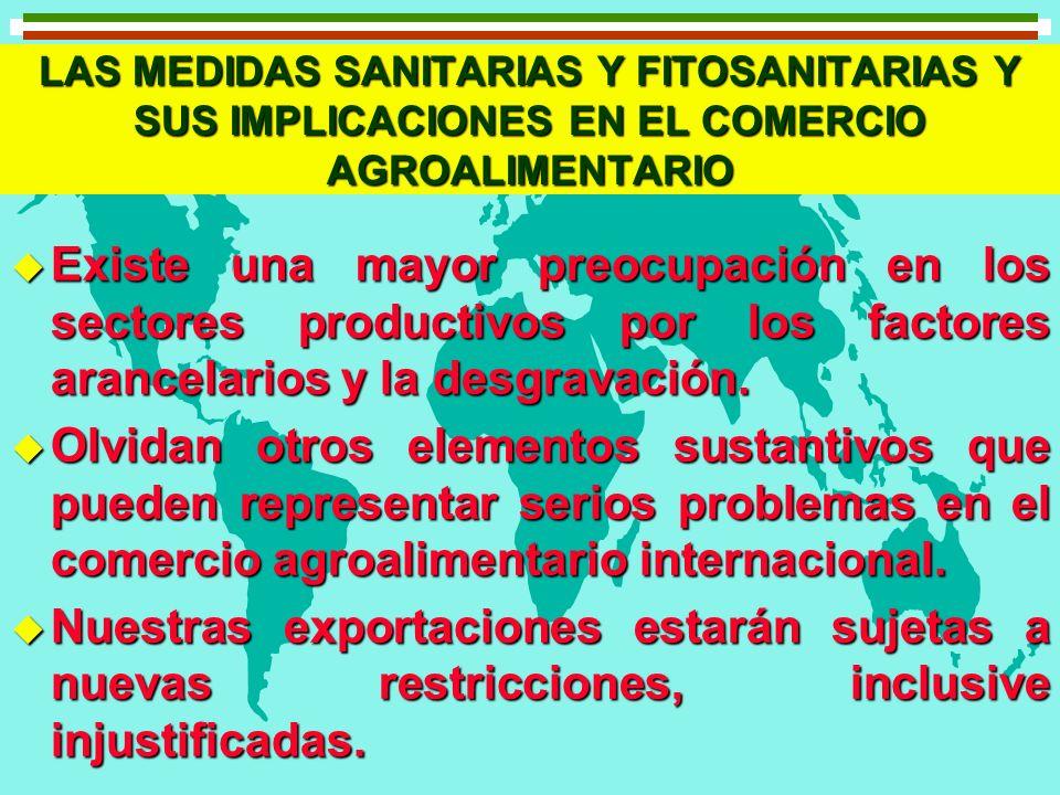 LAS MEDIDAS SANITARIAS Y FITOSANITARIAS Y SUS IMPLICACIONES EN EL COMERCIO AGROALIMENTARIO u Existe una mayor preocupación en los sectores productivos