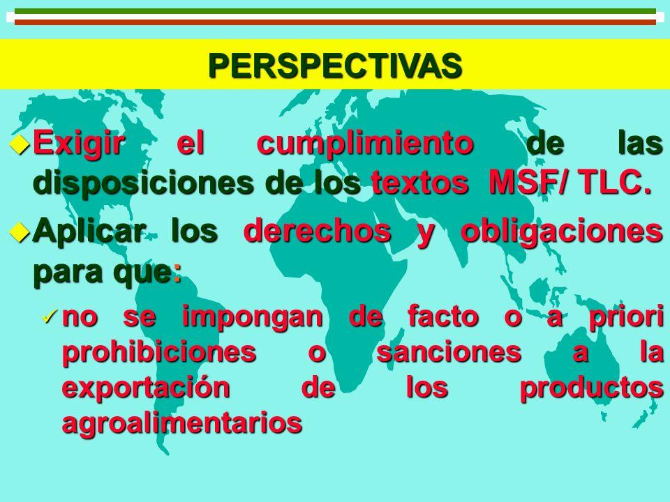 PERSPECTIVAS u Exigir el cumplimiento de las disposiciones de los textos MSF/ TLC. u Aplicar los derechos y obligaciones para que: no se impongan de f