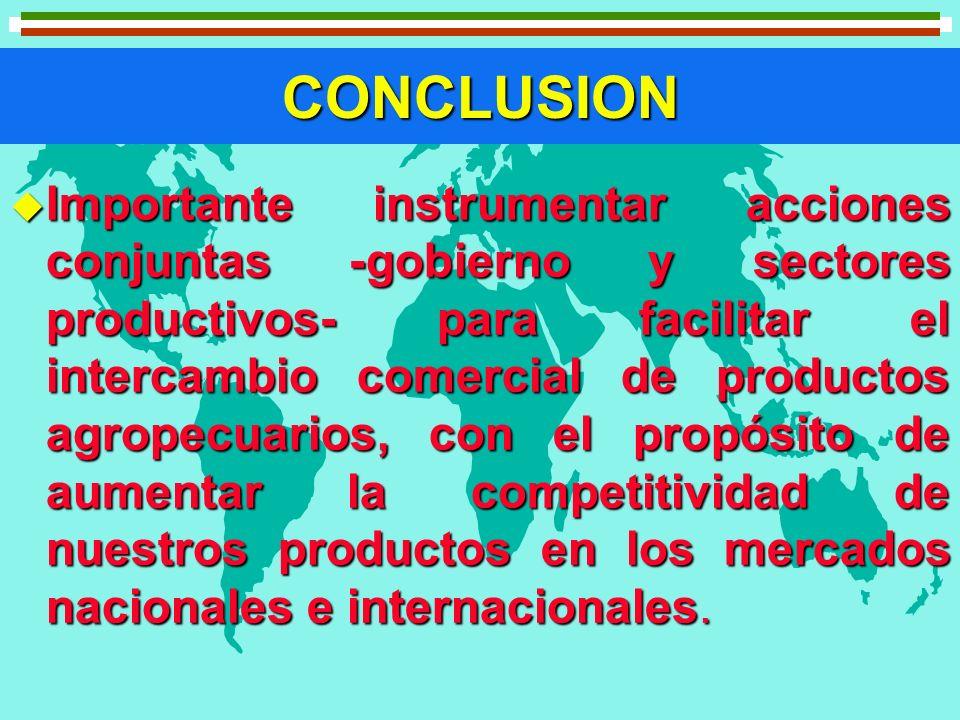 CONCLUSION u Importante instrumentar acciones conjuntas -gobierno y sectores productivos- para facilitar el intercambio comercial de productos agropec