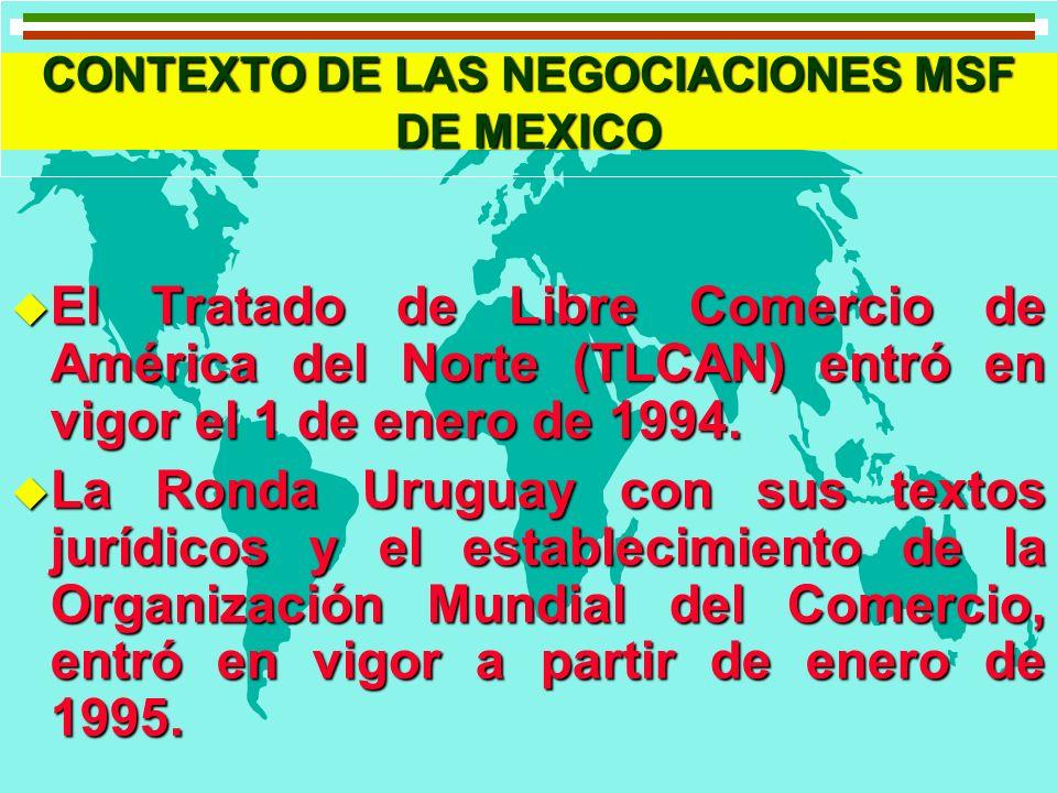 CONTEXTO DE LAS NEGOCIACIONES MSF DE MEXICO u El Tratado de Libre Comercio de América del Norte (TLCAN) entró en vigor el 1 de enero de 1994. u La Ron