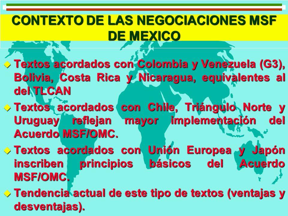 CONTEXTO DE LAS NEGOCIACIONES MSF DE MEXICO u Textos acordados con Colombia y Venezuela (G3), Bolivia, Costa Rica y Nicaragua, equivalentes al del TLC