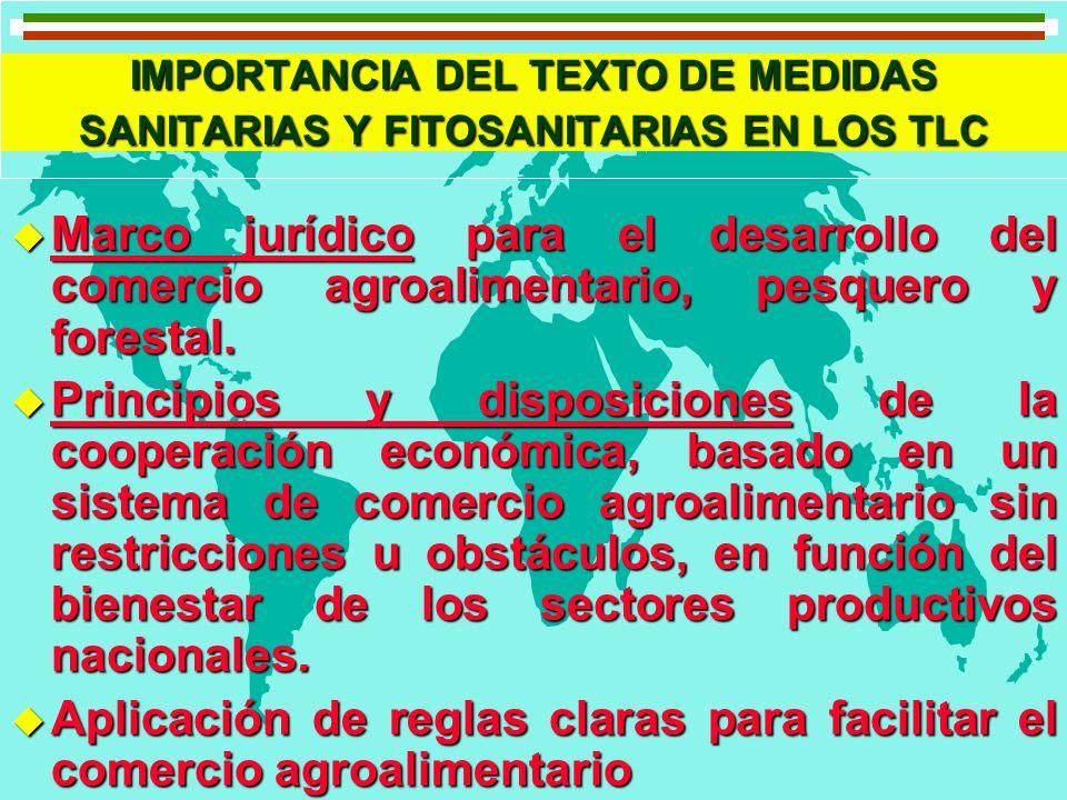 IMPORTANCIA DEL TEXTO DE MEDIDAS SANITARIAS Y FITOSANITARIAS EN LOS TLC u Aporta seguridad al comercio agroalimentario.